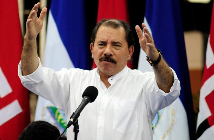 Nicaragua's President Daniel Ortega addresses the audience in Managua